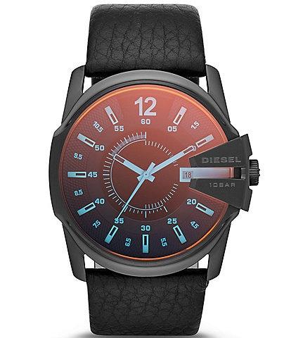 Diesel Men's Master Chief Three-Hand Date Black Leather Watch