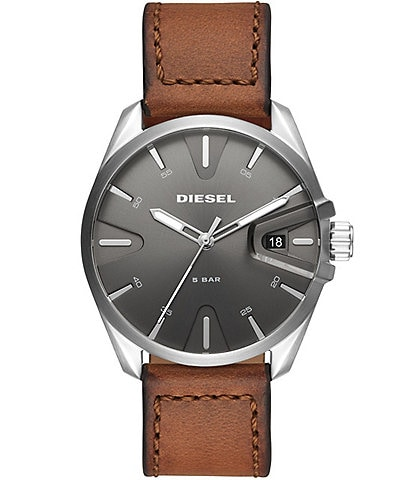 Diesel NSBB Three-Hand Brown Leather Watch