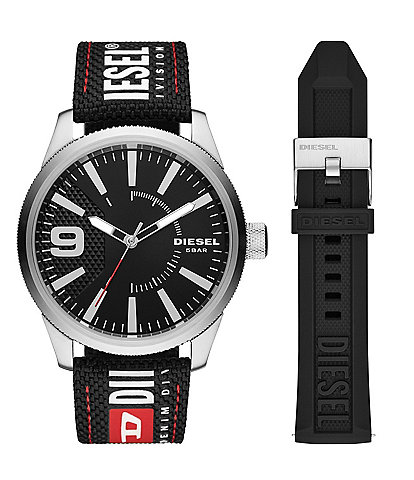 Diesel Rasp NSBB Three-Hand Black Nylon Quartz Analog Watch