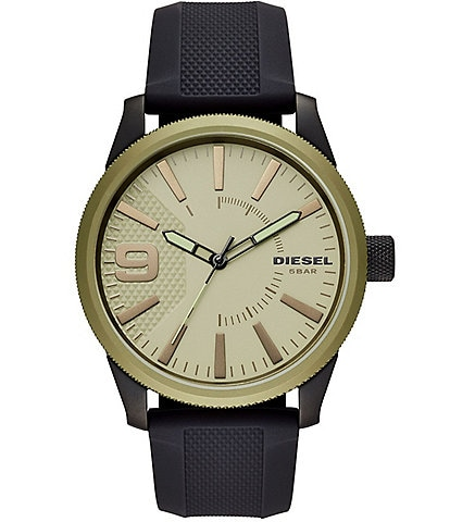 Diesel Rasp NSBB Three-Hand Black Silicone Watch