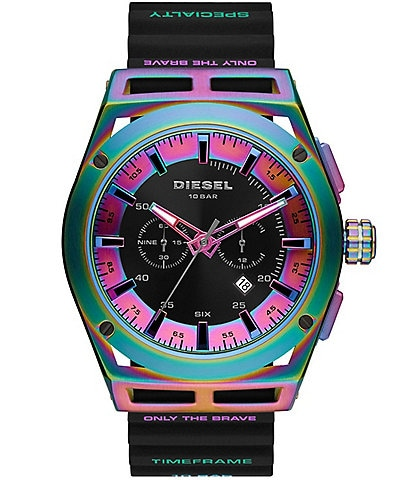 Diesel Timeframe Multicolor Dial Chronograph Black Silicone Watch