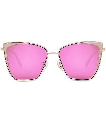 DIFF Eyewear Becky Rose Gold Pink Polarized Cat Eye Sunglasses