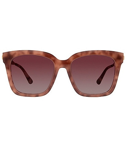 DIFF Eyewear Bella Polarized Mirrored Square Sunglasses