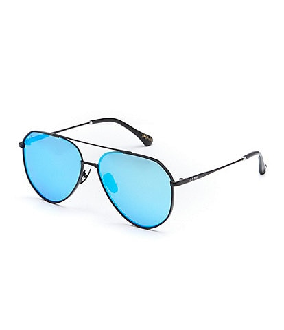 Diff Eyewear Dash Blue Mirror Aviator Sunglasses