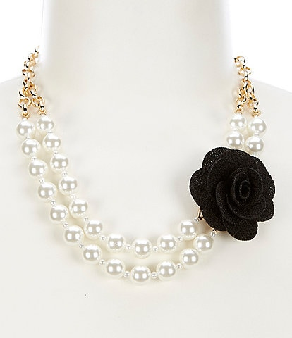 Dillard's Flower Pearl Frontal Necklace