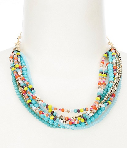 Dillard's Mixed Beaded Multi Strand Necklace