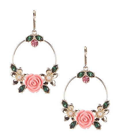 Dillard's Open Flower Round Drop Earrings