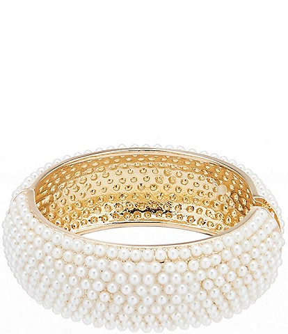 Dillard's Pave Pearl Wide Hinge Bracelet