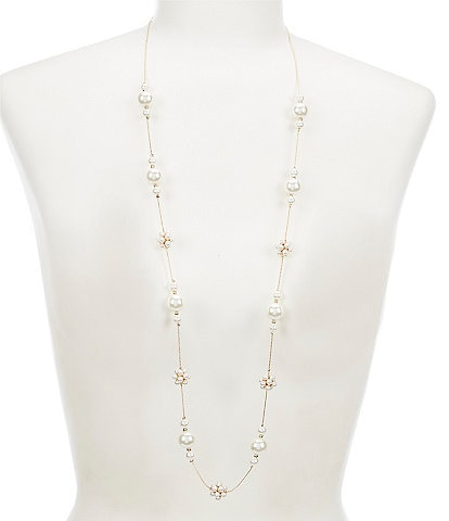 Dillard's Pearl Station Flower Long Strand Necklace