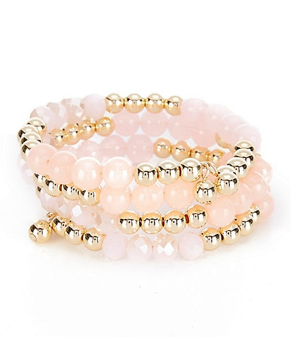 Dillard's Pink and Gold Beaded Coil Bracelet