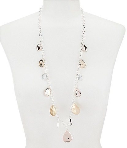 Dillard's Tailored Tri Tone Metal Tear Drop Necklace