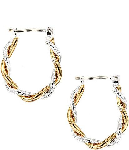 Dillard's Tailored Two-Tone Hoop Earrings