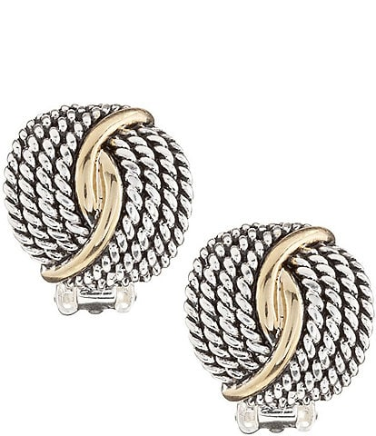 Dillard's Tailored Two-Tone Textured Twist Clip-On Earrings