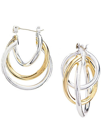 Dillard's Two Tone Triple Twist Hoop Earrings