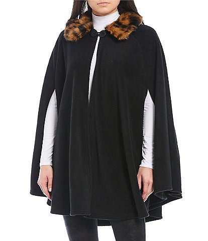Dillard's Women's Elaina Cape With Faux Fur Collar