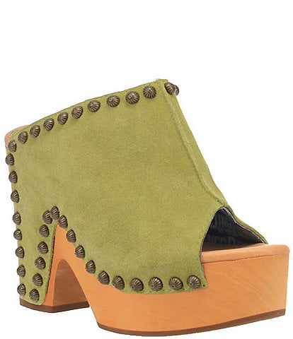 Dingo Peace N Love Studded Suede Wooden Clogs