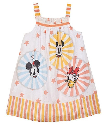 Disney x Pippa & Julie Little Girls 2T-6X Mickey, Minnie & Daisy Mixed-Media A-Line Dress