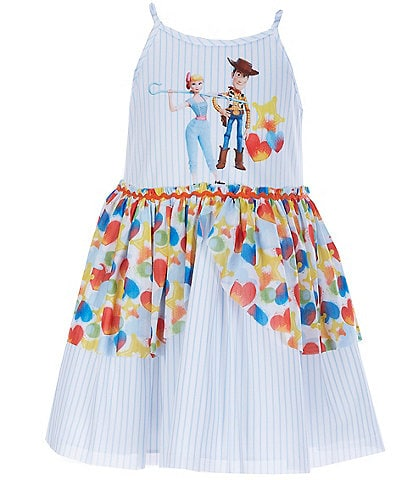 Disney x Pippa & Julie Little/Big Girls 2T-8 Woody & Bo-Peep Toy Story Striped Fit-And-Flare Dress