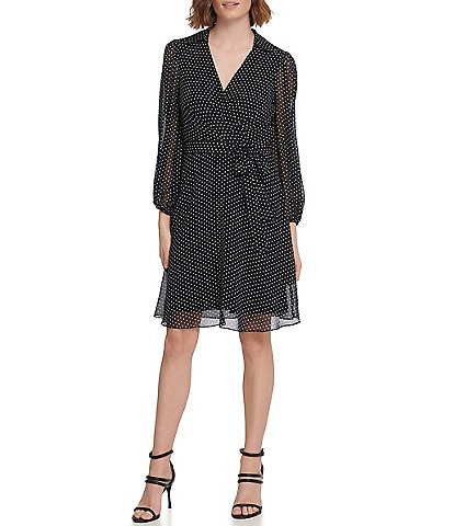 DKNY 3/4 Balloon Sleeve Tie Waist Dotted Chiffon Faux Wrap Dress