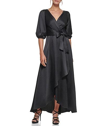DKNY 3/4 Balloon Sleeve V-Neck Faux Wrap Dress