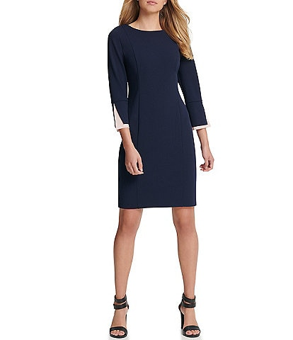 DKNY 3/4 Chiffon Peekaboo Sleeve Crepe Sheath Dress
