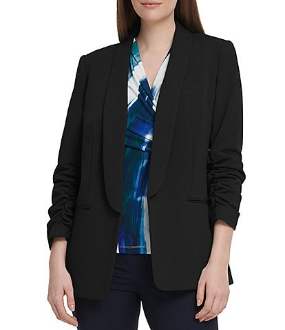 DKNY 3/4 Ruched Sleeve Open Front Jacket