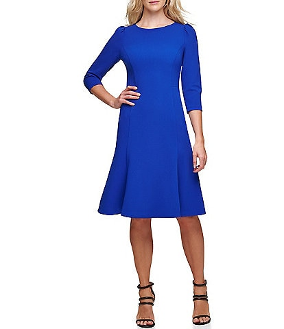 DKNY 3/4 Sleeve Puff Shoulder Crepe A-Line Dress
