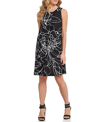 DKNY Abstract Floral Sleeveless Shift Dress