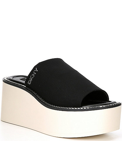 DKNY Adelyn Stretch Mesh Chain Platform Wedge Slides