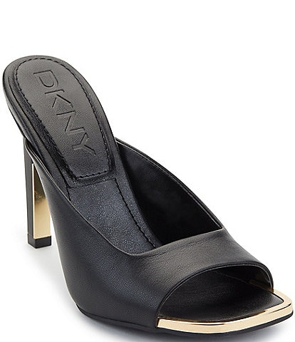 DKNY Anya Leather Square Toe Dress Slides