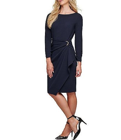 DKNY Asymmetrical Ruffle Front D-Ring Ruched Long Sleeve Crepe Sheath Dress