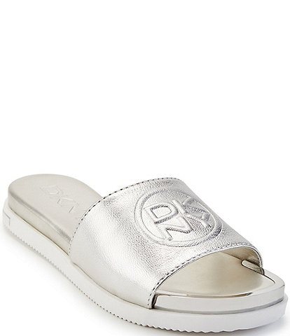 DKNY Baby Embossed Signature Logo Stamp Leather Slides
