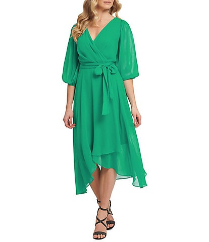 DKNY 3/4 Balloon Sleeve Chiffon Faux Wrap Midi Dress