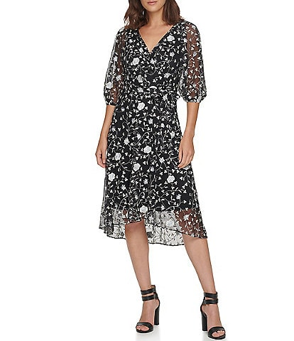 DKNY Balloon Sleeve Floral Embroidered Faux Wrap Hi-Low Midi Dress