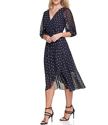 DKNY Balloon Sleeve Metallic Diamond Chiffon Midi Dress