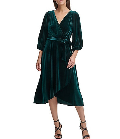 DKNY Balloon Sleeve Velvet Faux Wrap Hi-low Midi Dress