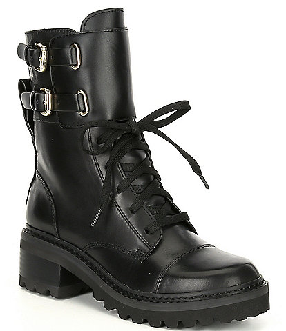 DKNY Bart Leather Buckle Detail Block Heel Lug Sole Combat Boots