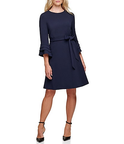 DKNY Bell Sleeve Crepe Fit & Flare Dress