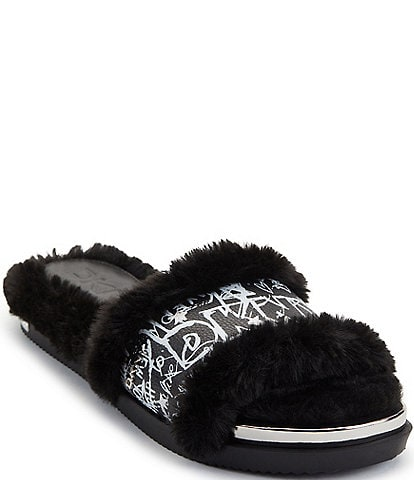 DKNY Bevan Faux Fur Graffiti Logo Print Leather Slides