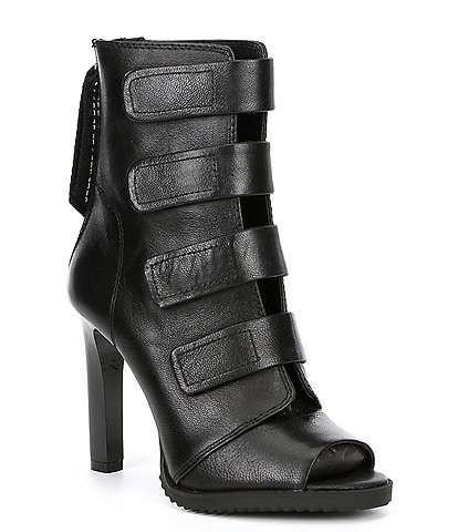 DKNY Blake Strappy Leather Peep Toe Stiletto Booties