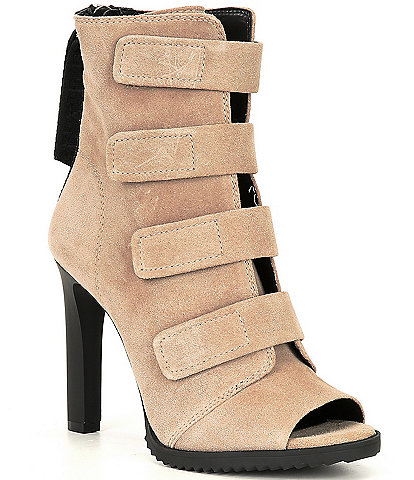 DKNY Blake Strappy Suede Peep Toe Stiletto Booties