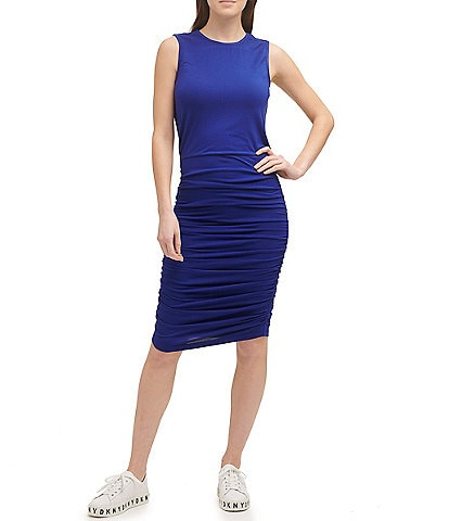 DKNY Blouson Dress with Ruched Skirt