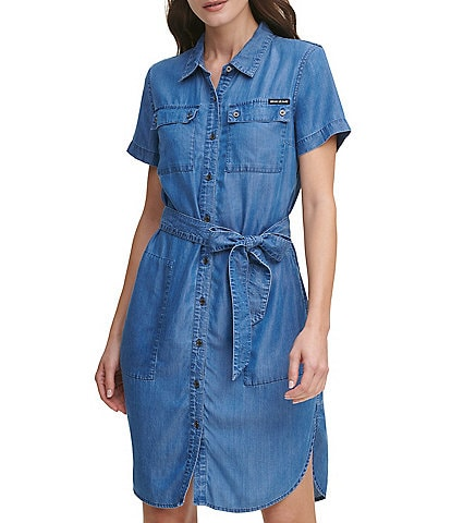 DKNY Button Front Chambray Utility Dress
