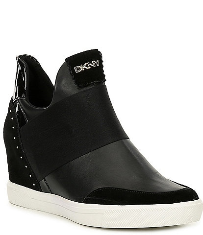 DKNY Cailin Leather and Suede Wedge Sneakers