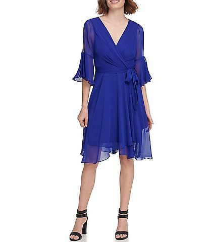 DKNY Chiffon 3/4 Bell Sleeve Tie Waist Faux Wrap Dress