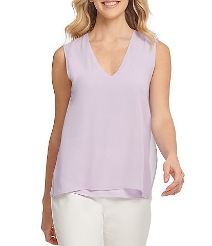 DKNY Chiffon Overlay Matte Jersey V-Neck Sleeveless Side Slit Top