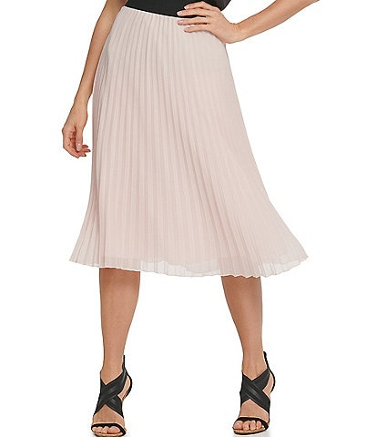 DKNY Chiffon Pleated Pull-On A-Line Midi Skirt