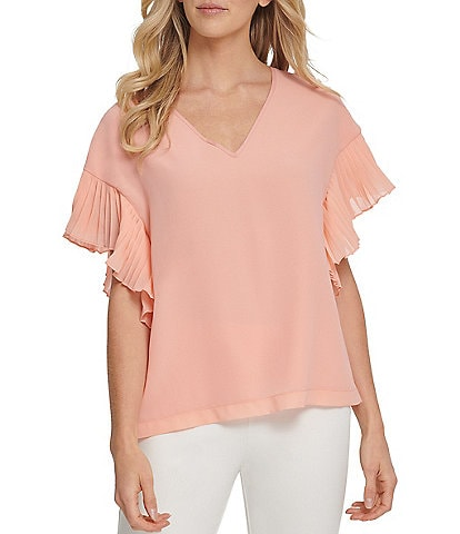 DKNY Chiffon V-Neck Pleated Ruffle Short Sleeve Top
