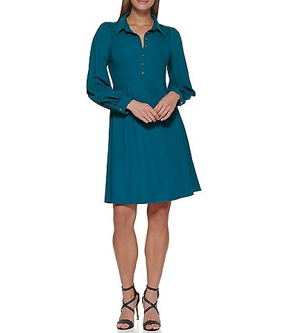 DKNY Collared Button Front Long Sleeve Twill A-Line Shirt Dress