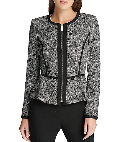 DKNY Collarless Zip Front Long Sleeve Peplum Jacket